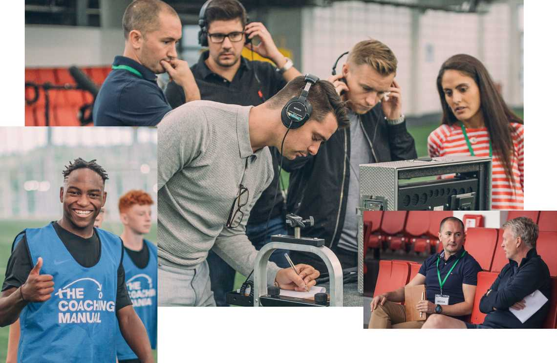Photos showing The Coaching Manual team at a video shoot.